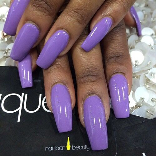 Bright purple coffin nails, looks like covergirl outlast ...