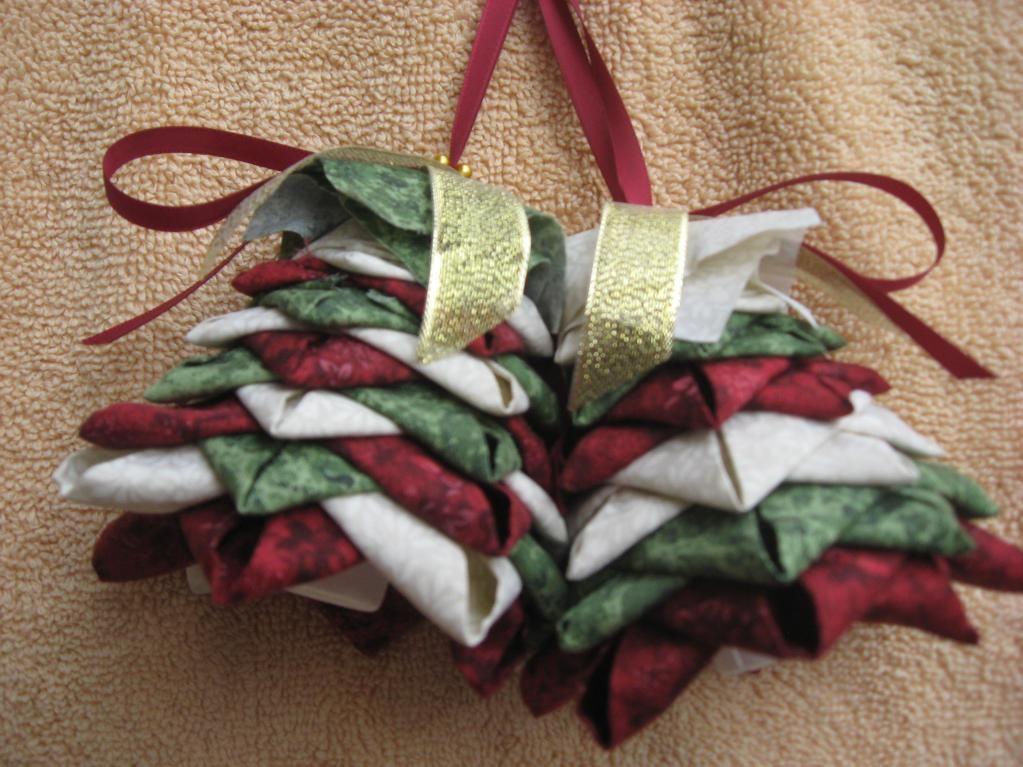No- Sew Folded-Fabric, Tree Ornament Pattern   Evergreen trees, Tree ...