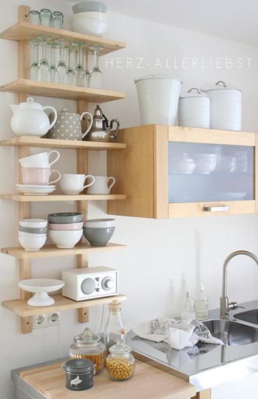 18 imágenes de cocinas sin armarios cerrados | muebles creativos ...