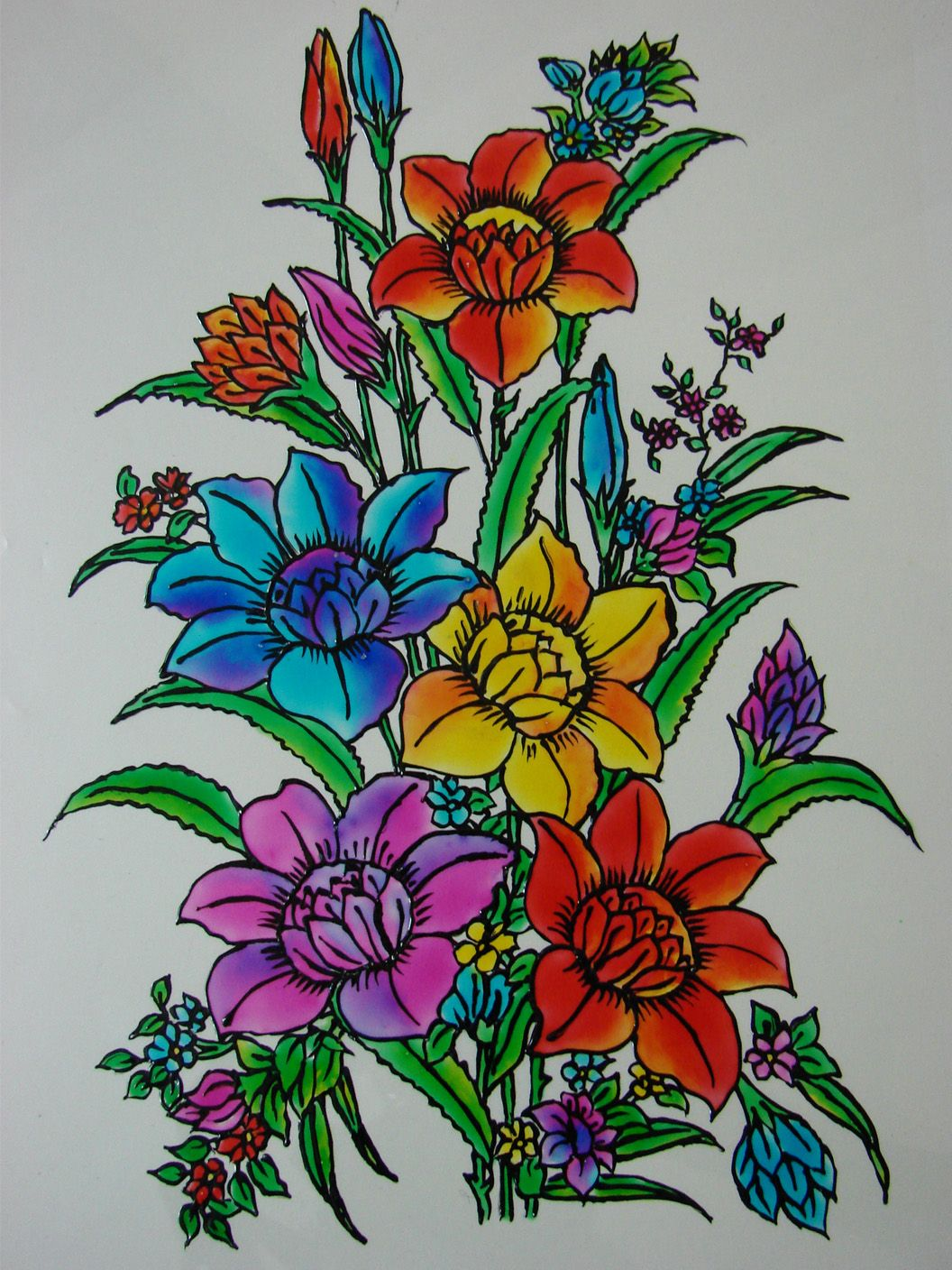 Simple flower designs for glass painting for Simple glass painting pictures
