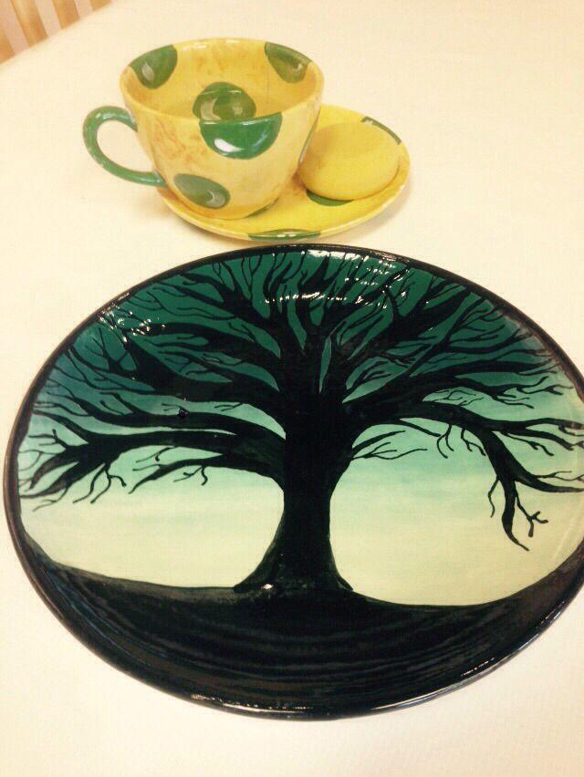 Tree Plate Painted Color Me Mine Red Deer Pottery Painting Ideas Easy Color Me Mine Pottery Painting