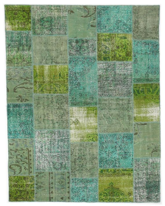 Turquoise And Lime Green Rug Patchwork Vintage By