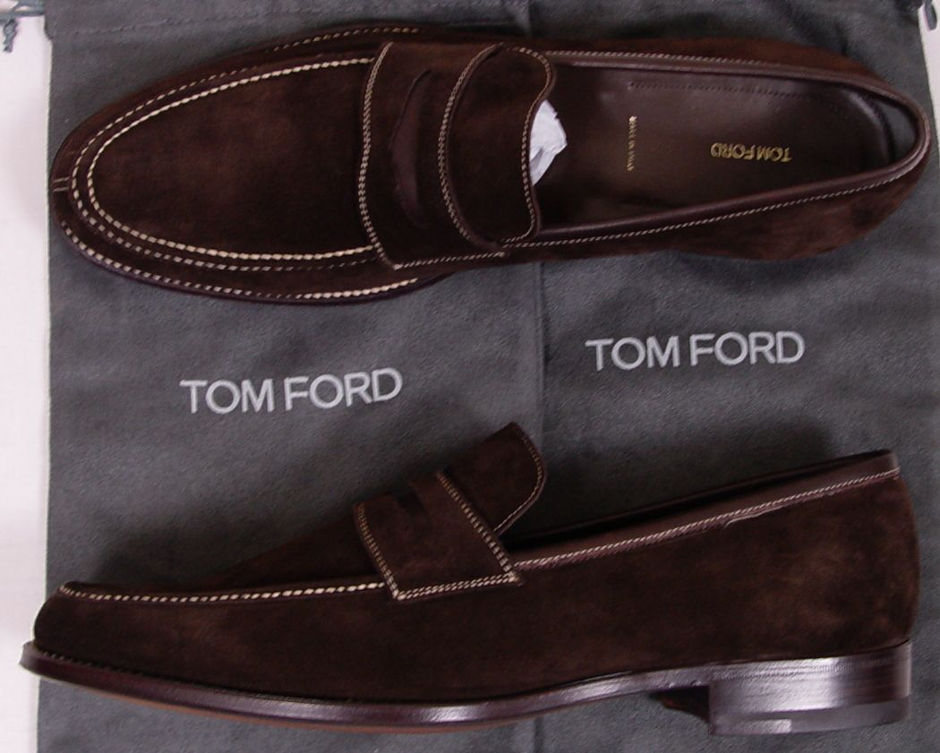 Men Shoes And Clothing Tom Ford 1195 Brown Suede Contrast Stitch Handmade Loafer 12 5