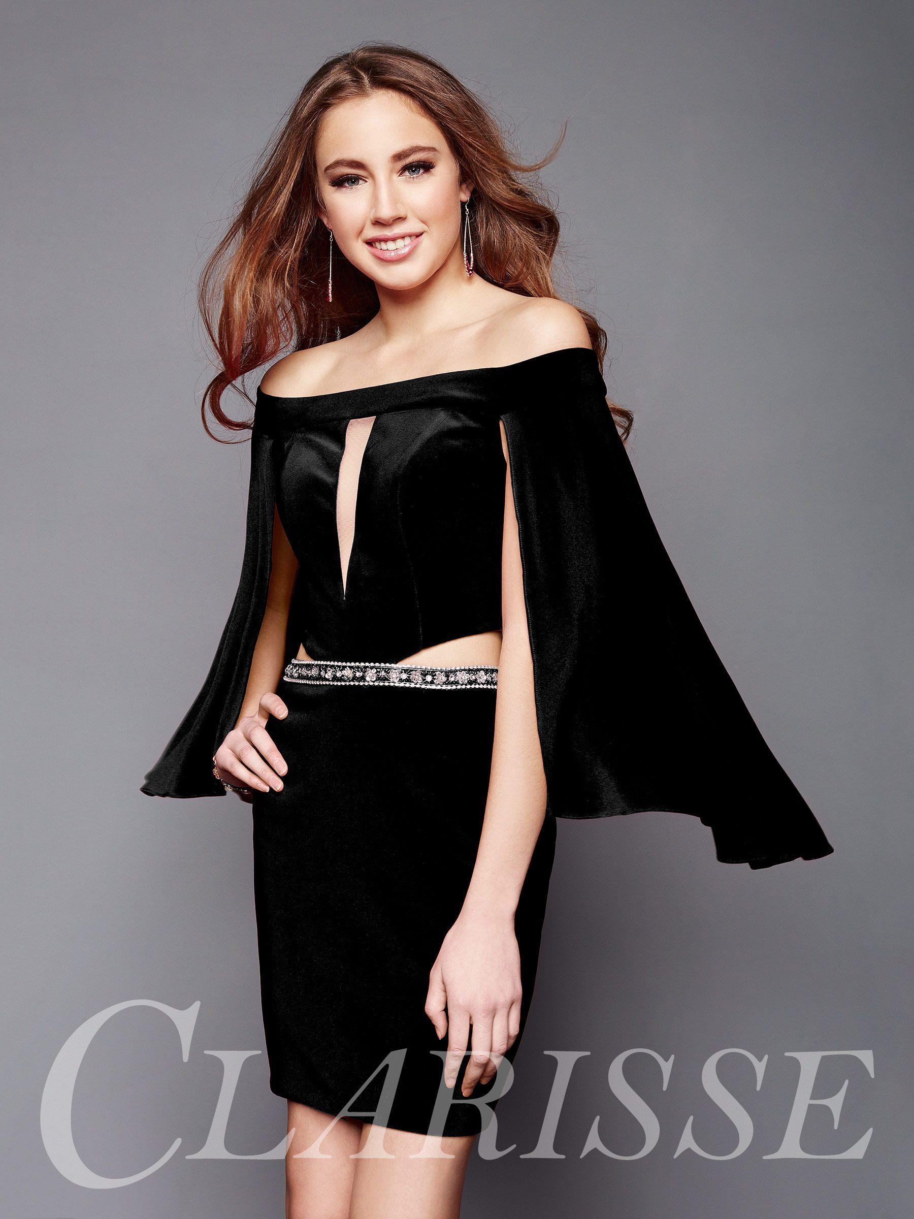 Trendy cocktail dress with sexy cutouts and cape sleeve, style 3355 ...
