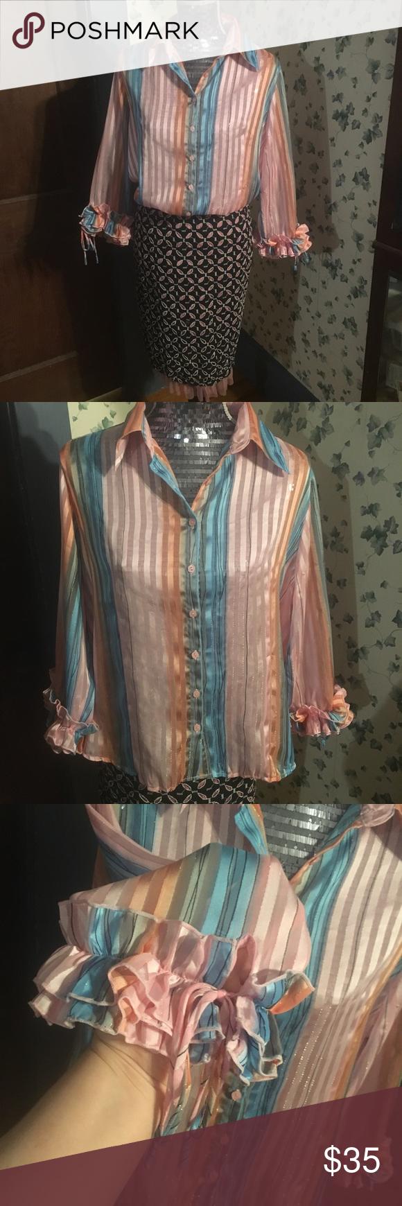 Vintage milano cotton candy striped blouse cotton candy cotton