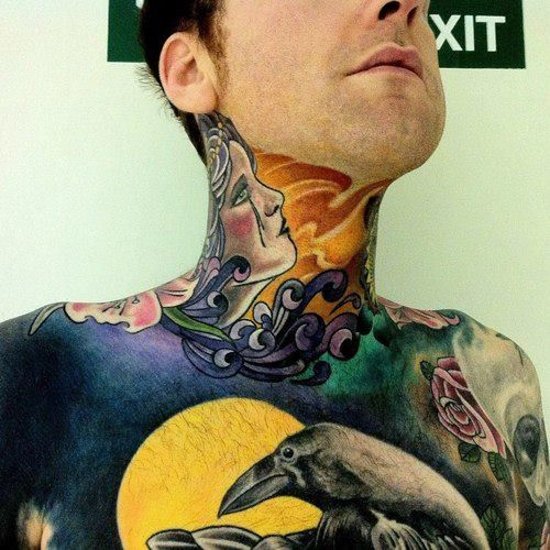 Colour Realism Neck Tattoo Realismtattoo Colourtattoo