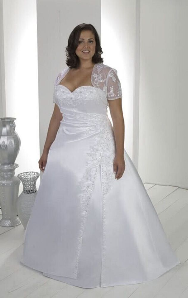 2014 New White/Ivory Wedding dress Bridal gown Custom Plus-size:18 ...