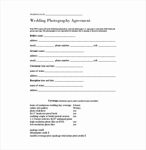 Wedding Photography Contract Template Word Best Of Contract