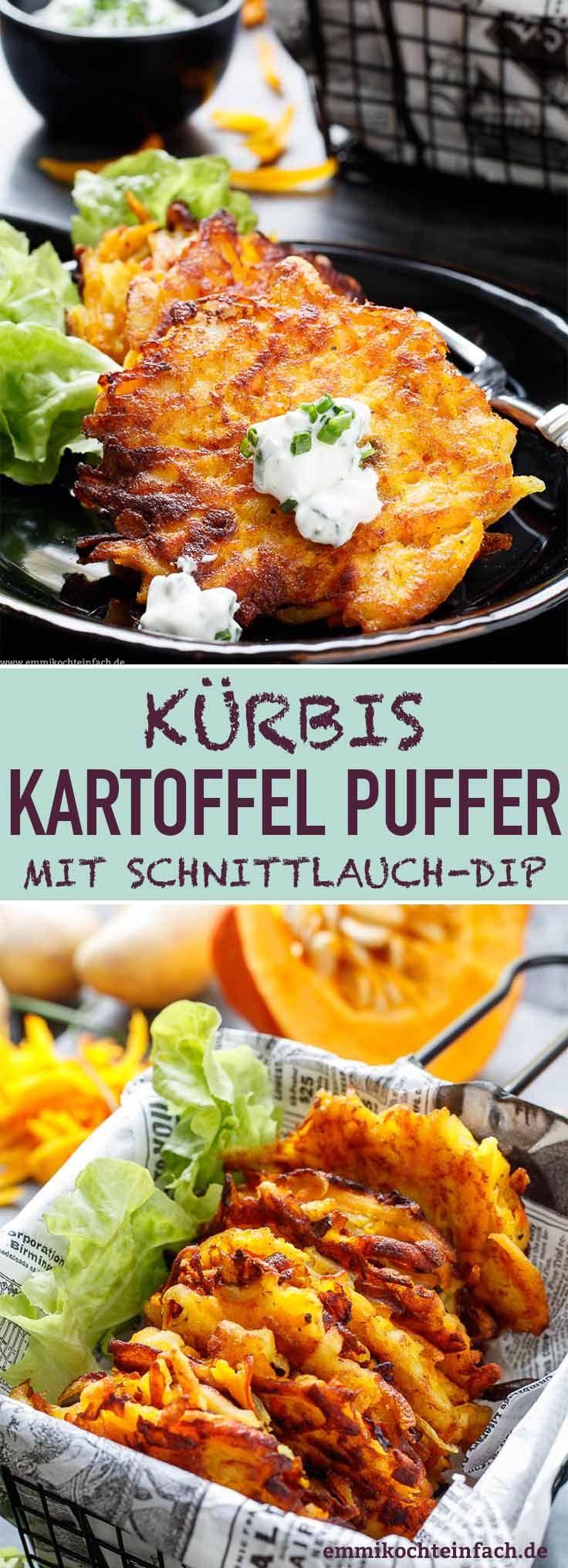 Kürbis Kartoffel Puffer mit Schnittlauch-Dip - emmikochteinfach