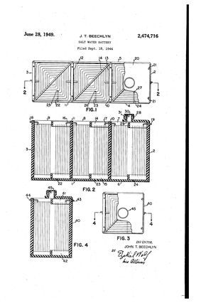 Patent US2474716 - Salt-water battery | diy | Water