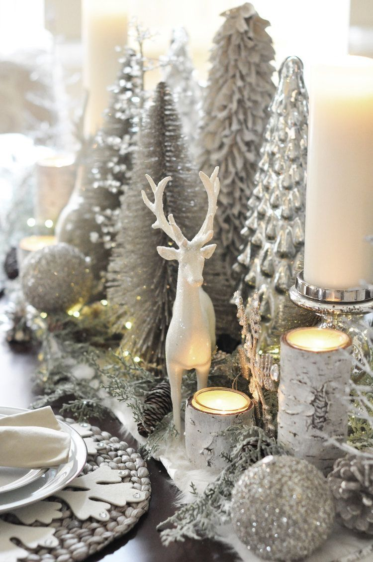 Pin By K On Silver Gold Crystal White Christmas Centerpieces Beautiful Christmas Decorations Christmas Tablescapes