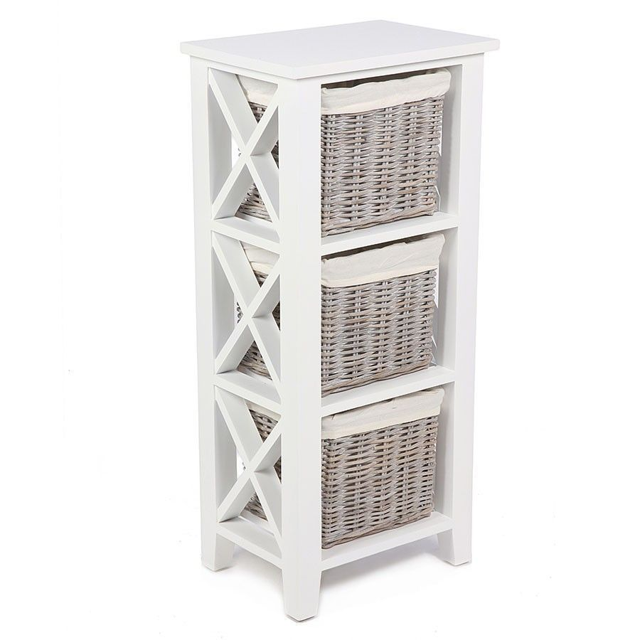 3 Baskets Storage Unit White Colour Wooden Frame Living Room Bedroom  Furniture
