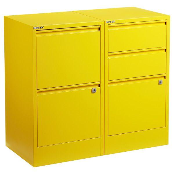 Bisley Yellow 2 3 Drawer Locking Filing Cabinets