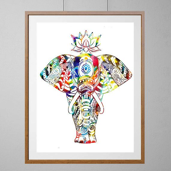 Elephant Art Print Indian Elephant On Parade Watercolor Print Indian