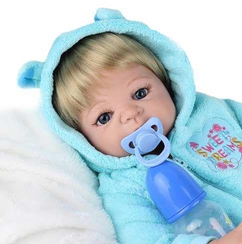 0ca618e08 Corpo Todo De Silicone Bebe Reborn Menino Pode Dar Banho!! - R  599 ...