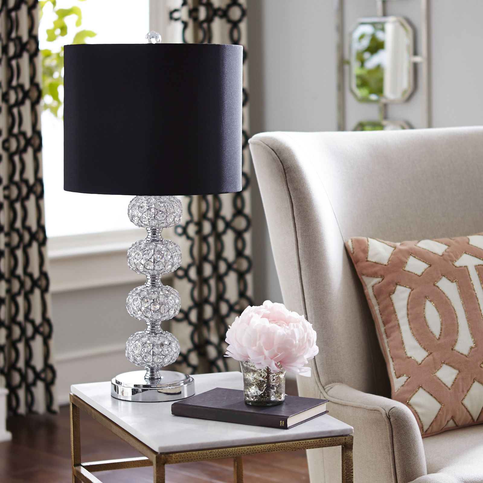 Stacked Crystal Sphere Table Lamp White Rooms Spaces And Room