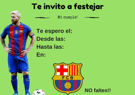 Tarjetas De Cumpleaños Del Barcelona Para Imprimir 1 En