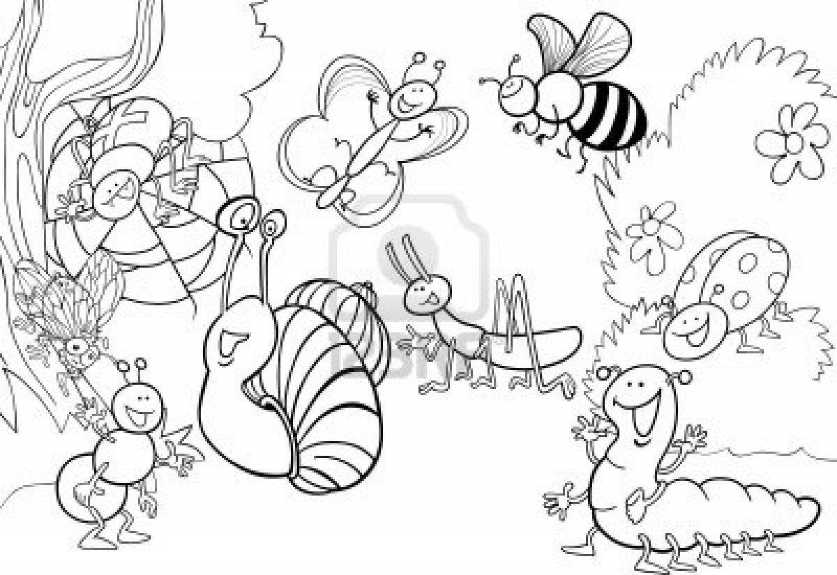 ilustración de dibujos animados de insectos divertidos en el prado ...