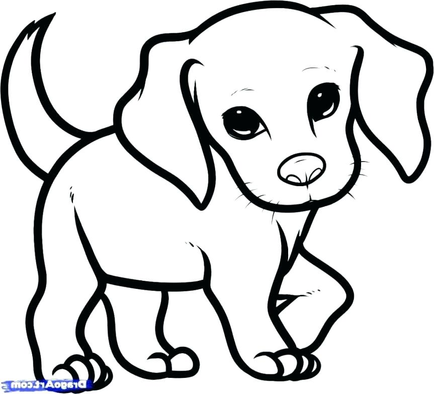 Puppy Coloring Pages Easy Puppy Sketch Dog Drawing Simple Cute Dog Drawing