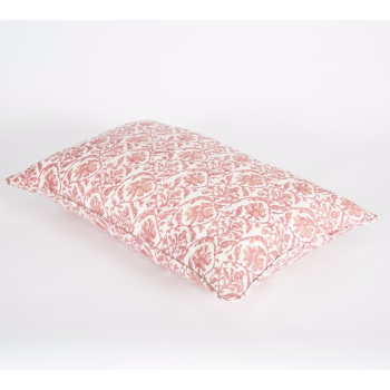 Rectangle Pink Floral Linen Cushion-OAC014: Biridie's new collection of hand block prints have been inspired from her travels in Rajasthan. They incorporate a floral design, geometric and a stripe. All three designs can be mixed together and co-ordinated with our plain linen napkins with hand blocked borders and lotus shaped linen tablemats.