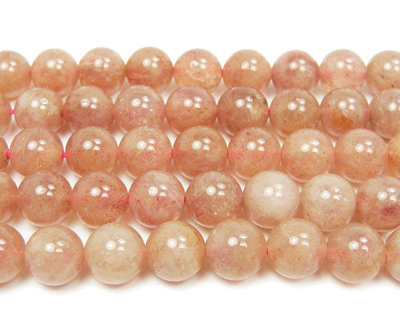 Strawberry quartz smooth round beads (10mm, 16 inches) at GIFTSJOY.COM