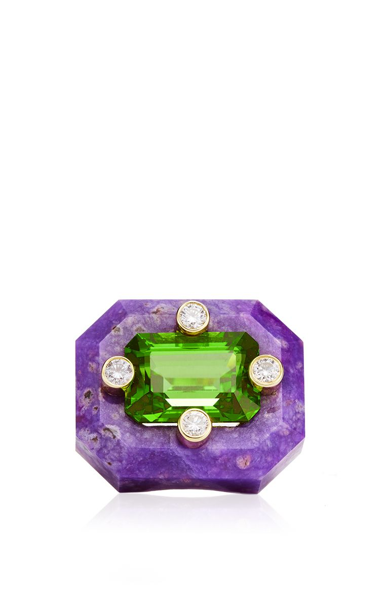Carved Sugalite, Peridot And Diamond Horizontal Duo Ring by Nicholas Varney for Preorder on Moda Operandi