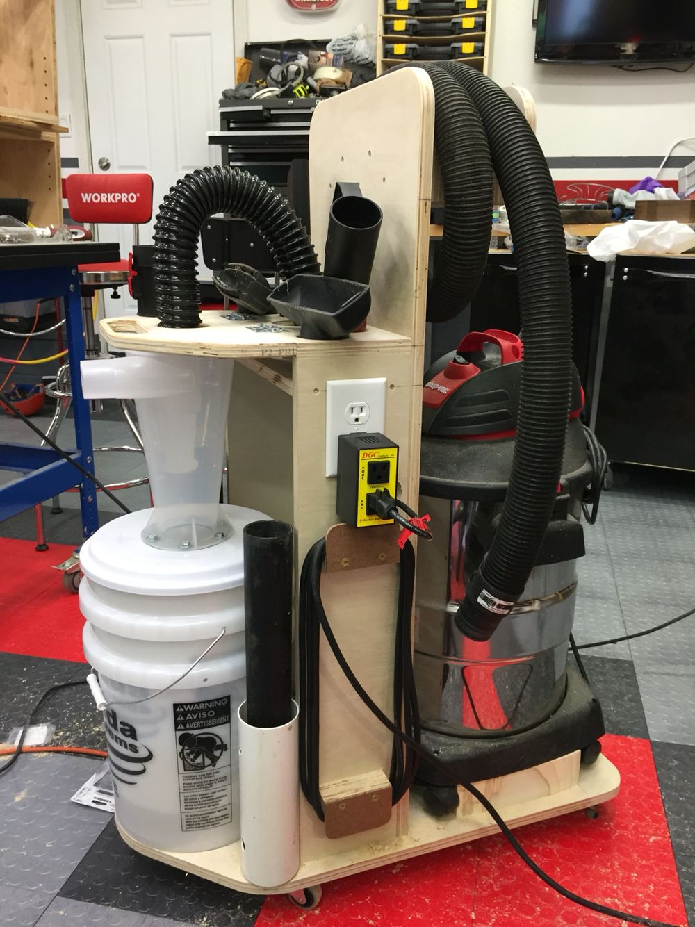 Shop Vac Cart Newest Addition To The Workshop Wood Shop Projects Dust Deputy Shop Dust