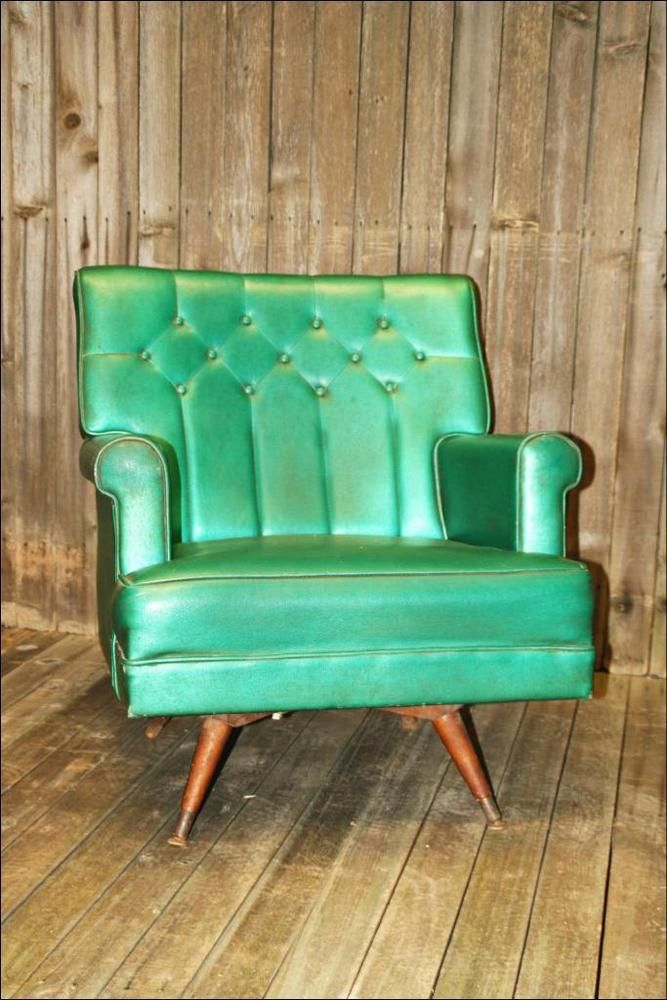 Awesome Mid Century Modern Lounge Chair Green Vintage 50S 60S Vinyl Dailytribune Chair Design For Home Dailytribuneorg