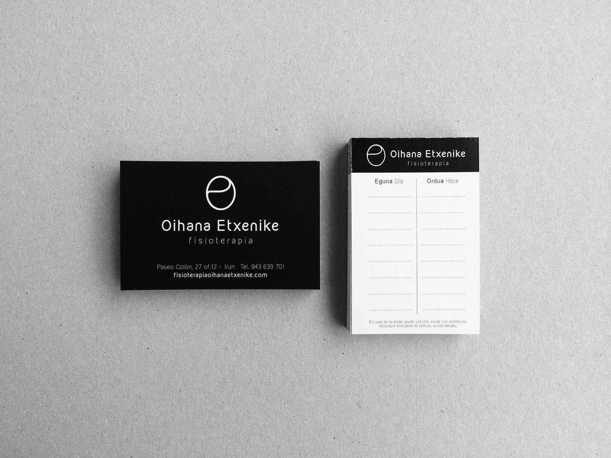 Imagen de marca y soportes gráficos para la Oihana Etxenike, fisioterapeuta en Irun.
