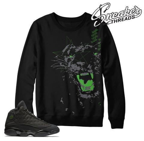 sneakers for cheap a1246 9b772 Match Jordan 13 black cat sweaters retro 13 crewnecks.