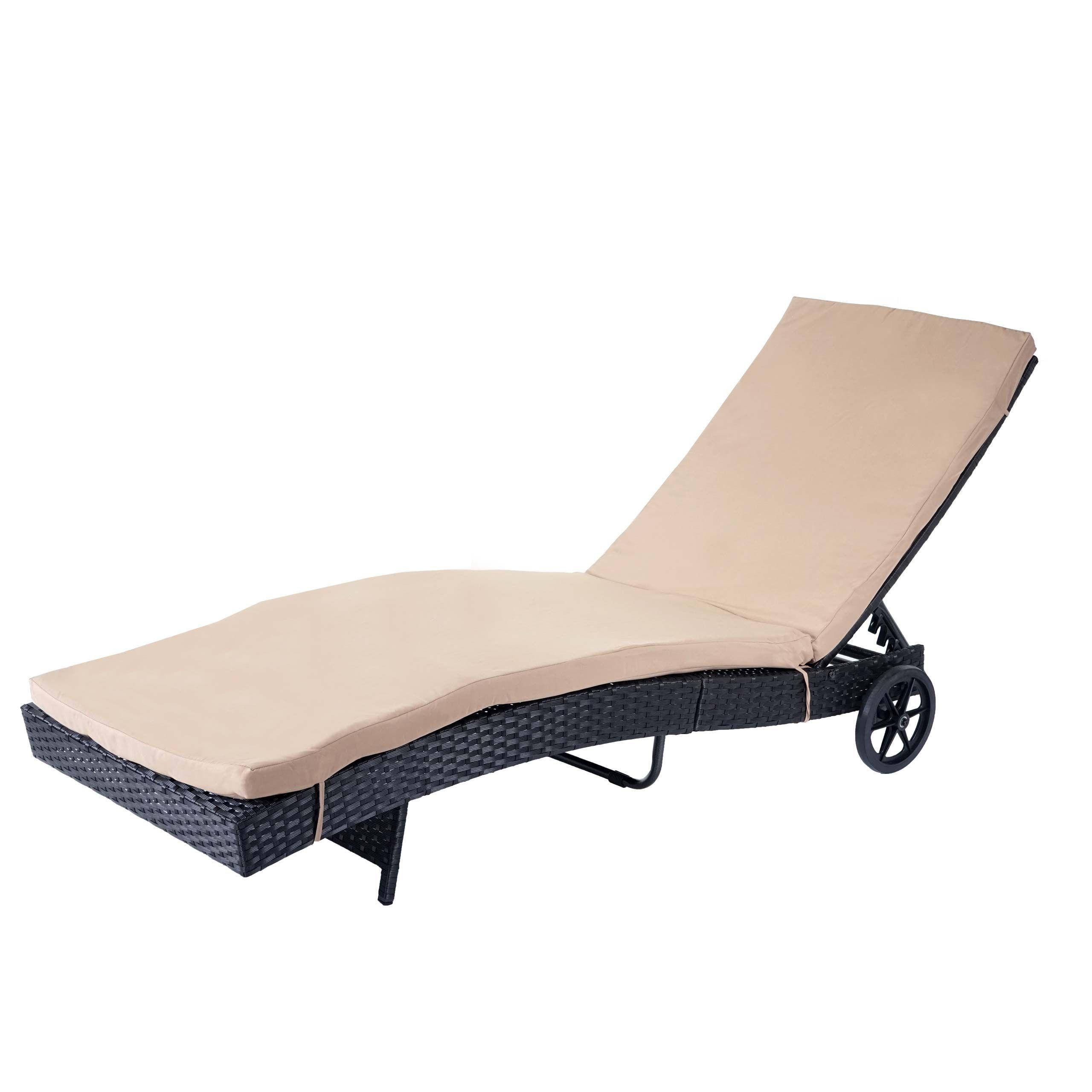 Sonnenliege Hwc D80 Gartenliege Relaxliege Liege Poly Rattan Anthrazit Kissen Beige Sonnenliege Liegestuhl Relaxliege