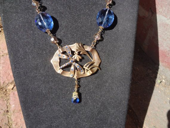 Vintage Art Nouveau Dragonfly NecklaceSky blue by RosebudsnPearls