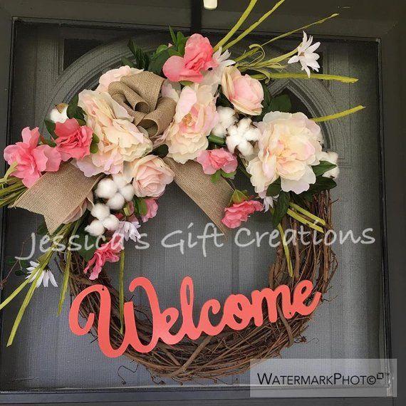 Photo of NEW MadetoOrder Peonies Welcome Grapevine Wreath/Front Door Wreath/Spring Decor/Year Round Wreath/Cotton Wreath/Monogram Door Hanger/Burlap