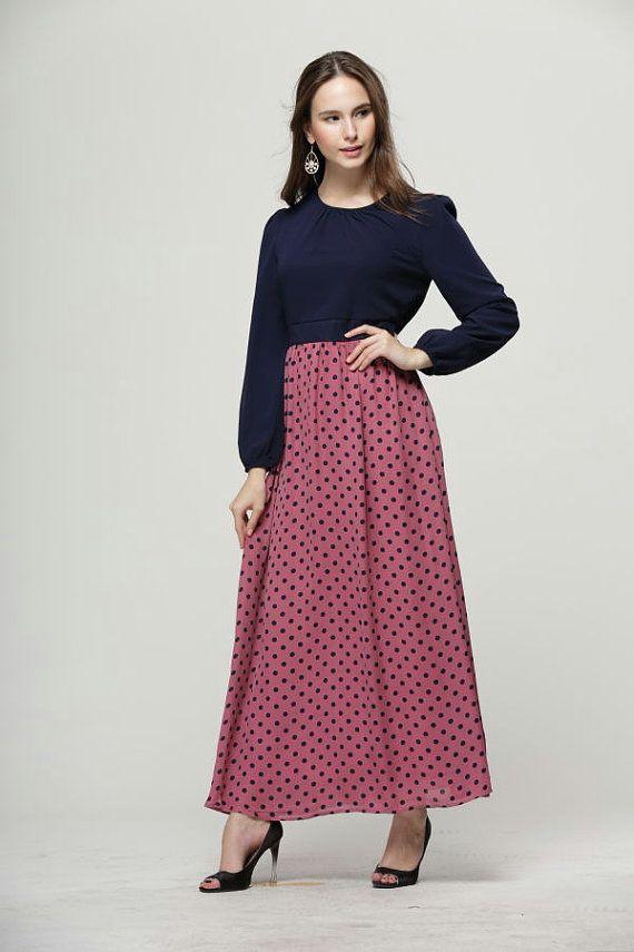 cd283b876d Purple Polka Dot Chiffon Maxi Dress Long Sleeve Modern Abaya Jilbab Islamic  Muslim Dress Full Silk Inner Lining