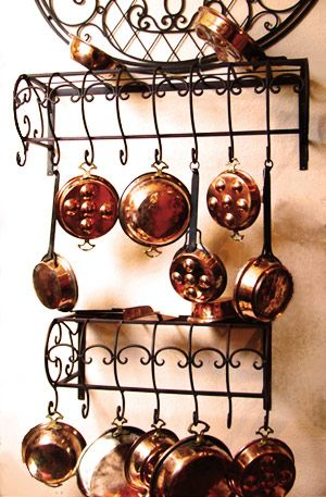 Love The Pot Racks And The Copper Pots Pans Pot Hanger French Country Kitchens Country Kitchen