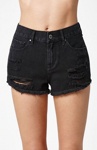 38d241af3f The Bodega Black Ripped High Rise Cutoff Denim Shorts feature a rich dark  wash for a timeless and versatile look. These denim shorts also boast a high  rise ...