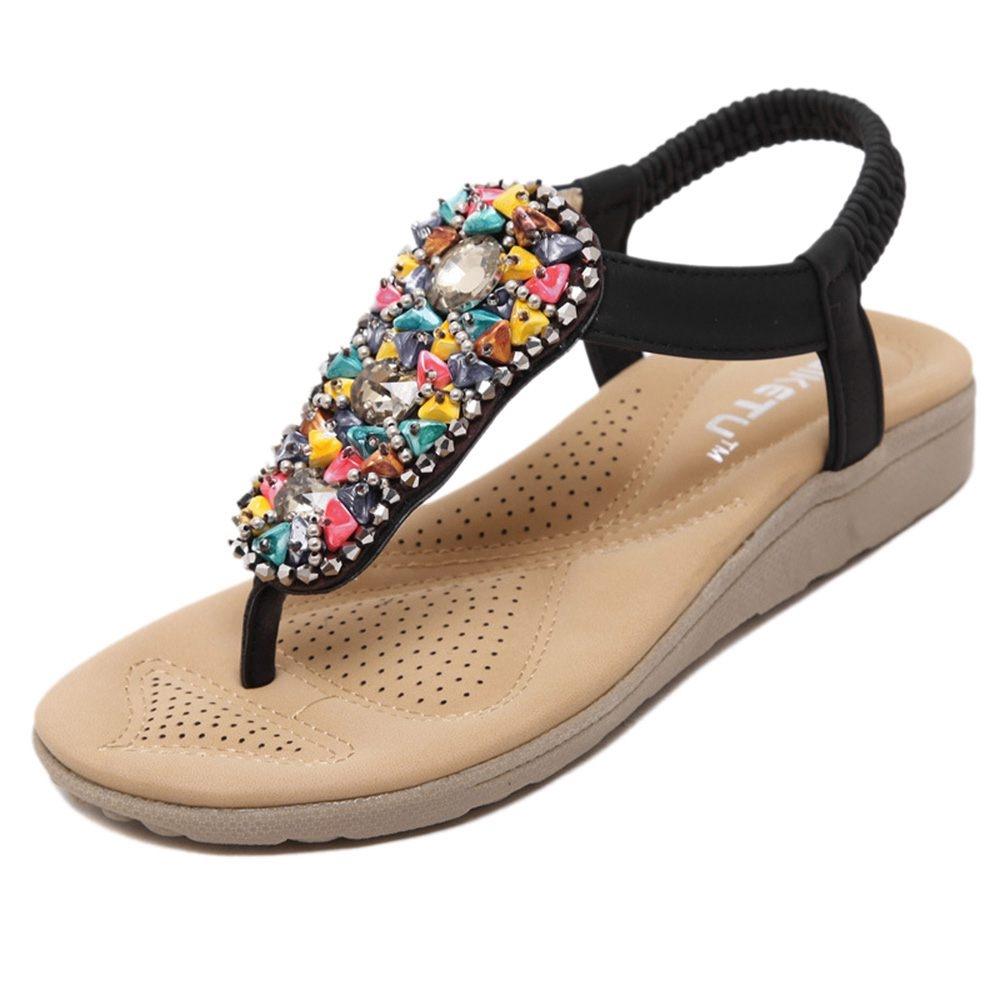 16.04  Watch now - Hot Fashion SIKETU Summer Women Beach Flip Flops  Students Bohemia Beaded c4a93a736d17