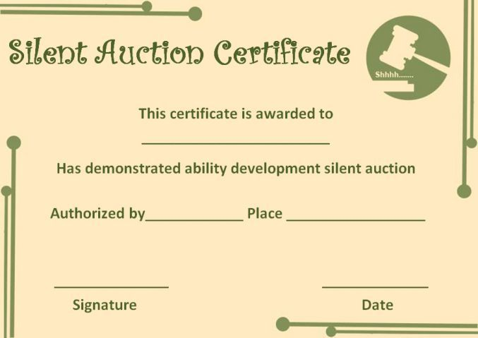 silent auction certificate template - Auction Certificate Template