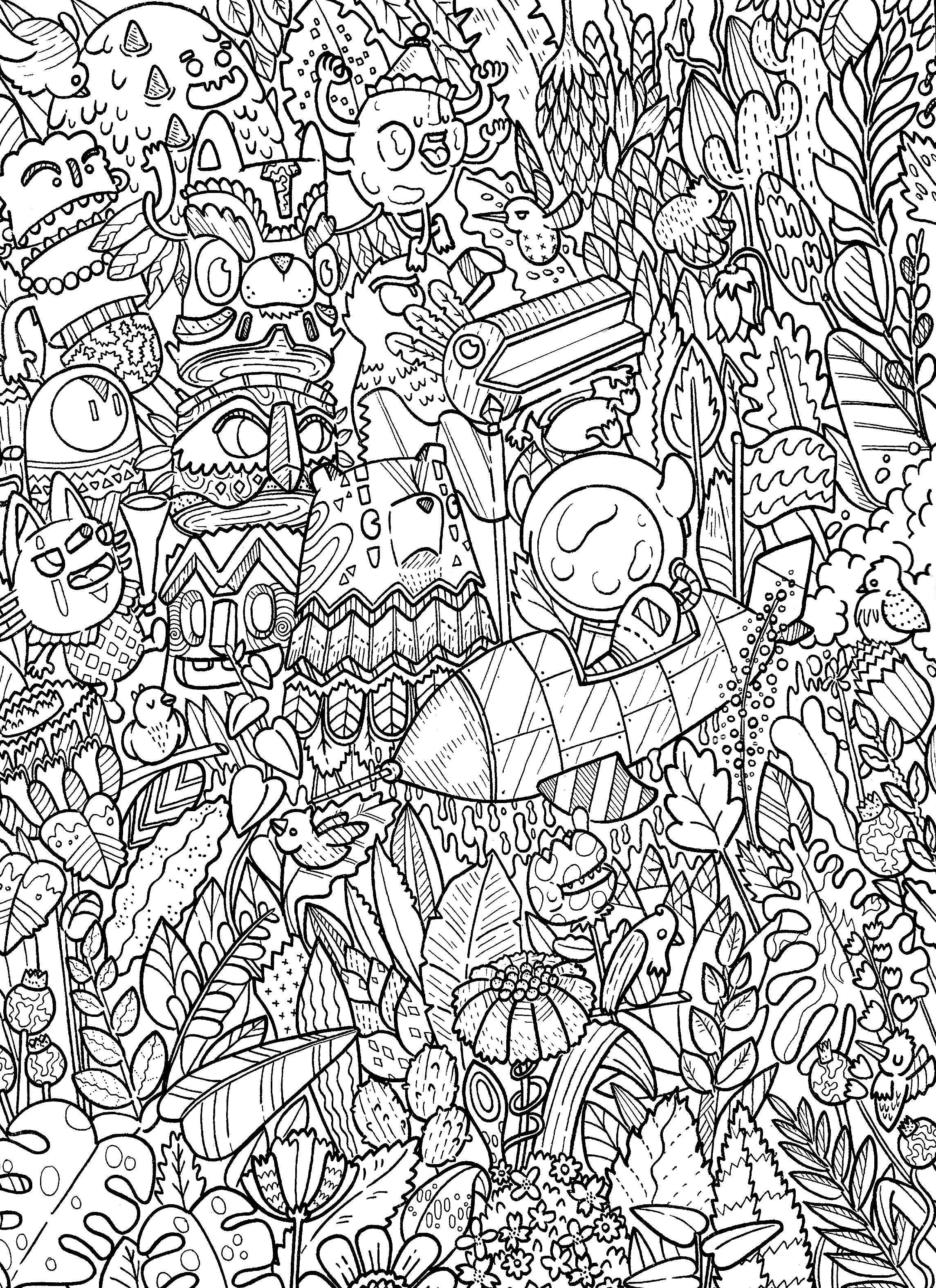 Doodle coloring book monster coloring pages adult coloring pages coloring sheets coloring stuff
