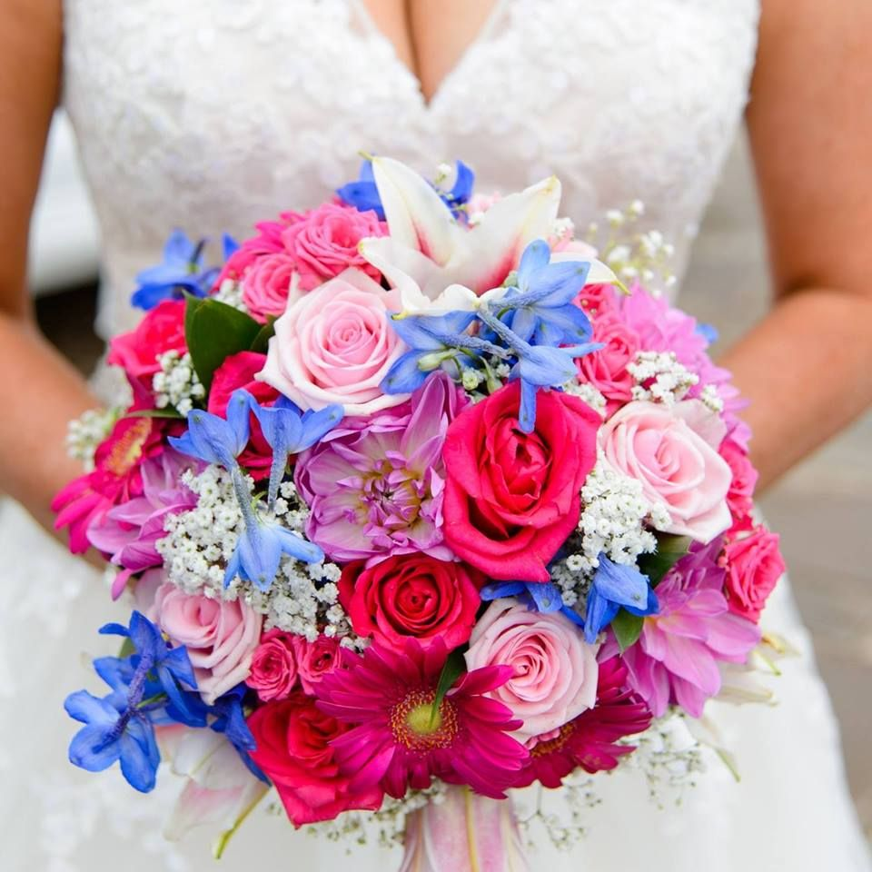 Wedding bouquet in hot pink, baby pink and navy blue   Professional ...