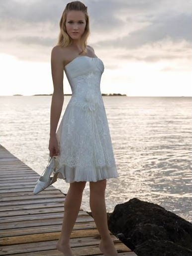 informal short white wedding dresses | Of Casual Short Off White ...