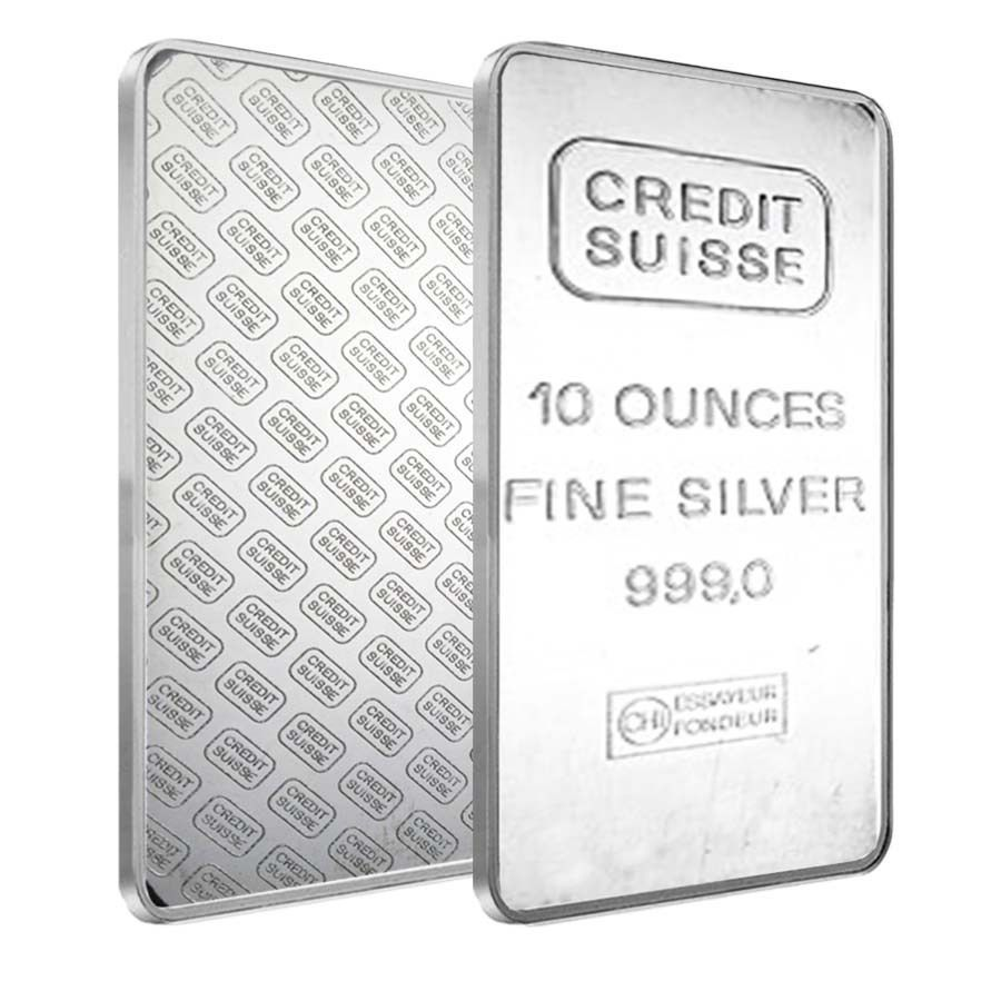 10 Oz Credit Suisse Silver Bar 999 Fine Secondary Market Rare Silver Bars Credit Suisse Silver