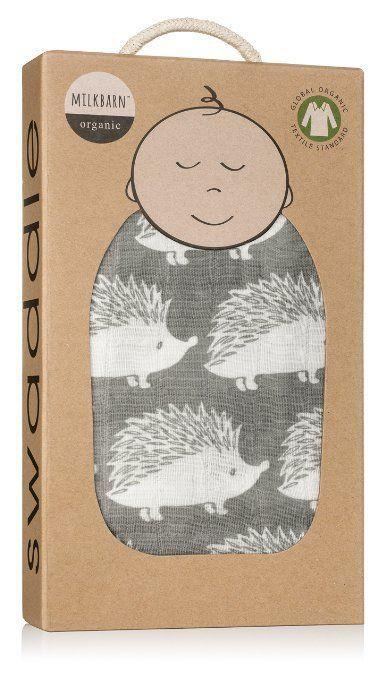 Milkbarn Organic Cotton Swaddle Blanket - Gray Hedgehog