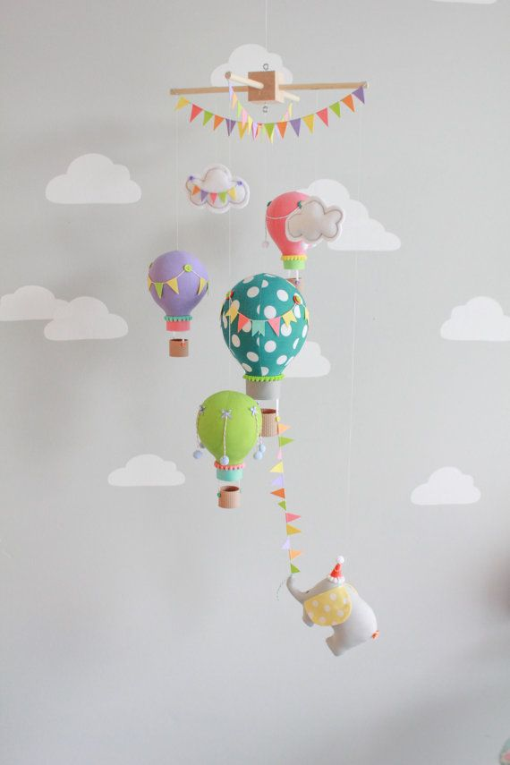 bright and colorful baby mobile hot air balloons