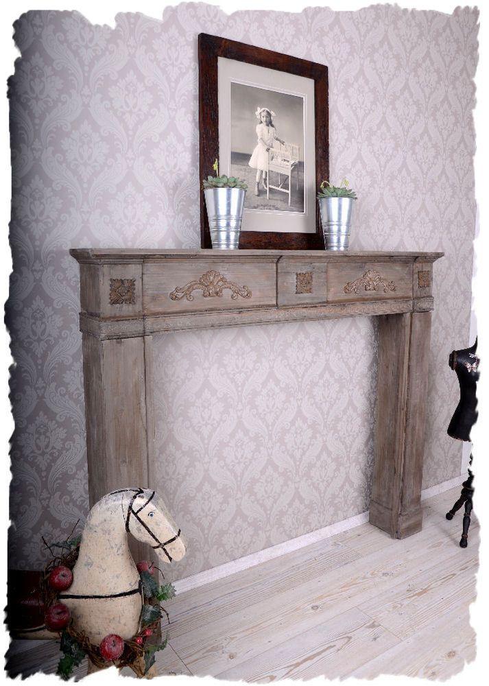 kaminkonsole shabby chic kaminumrandung dekokamin holz. Black Bedroom Furniture Sets. Home Design Ideas