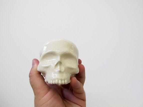 Human Skull ceramic halloween decoration in a stunning by mudpuppy, $50.00
