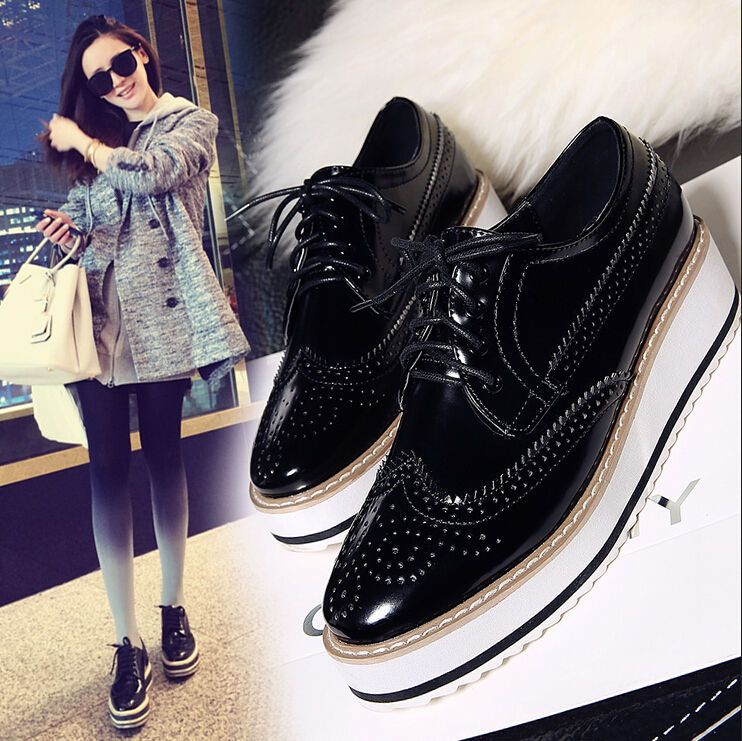 0b206987a93 Brogues Oxford Womens Fashion Flat Platform Creeper Lace Up Retro Wingtip  Shoes  unbranded  Oxfords