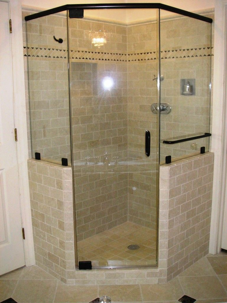 bathroom shower stall design idea with glass door and black frame combine with subway - Shower Stall Design Ideas
