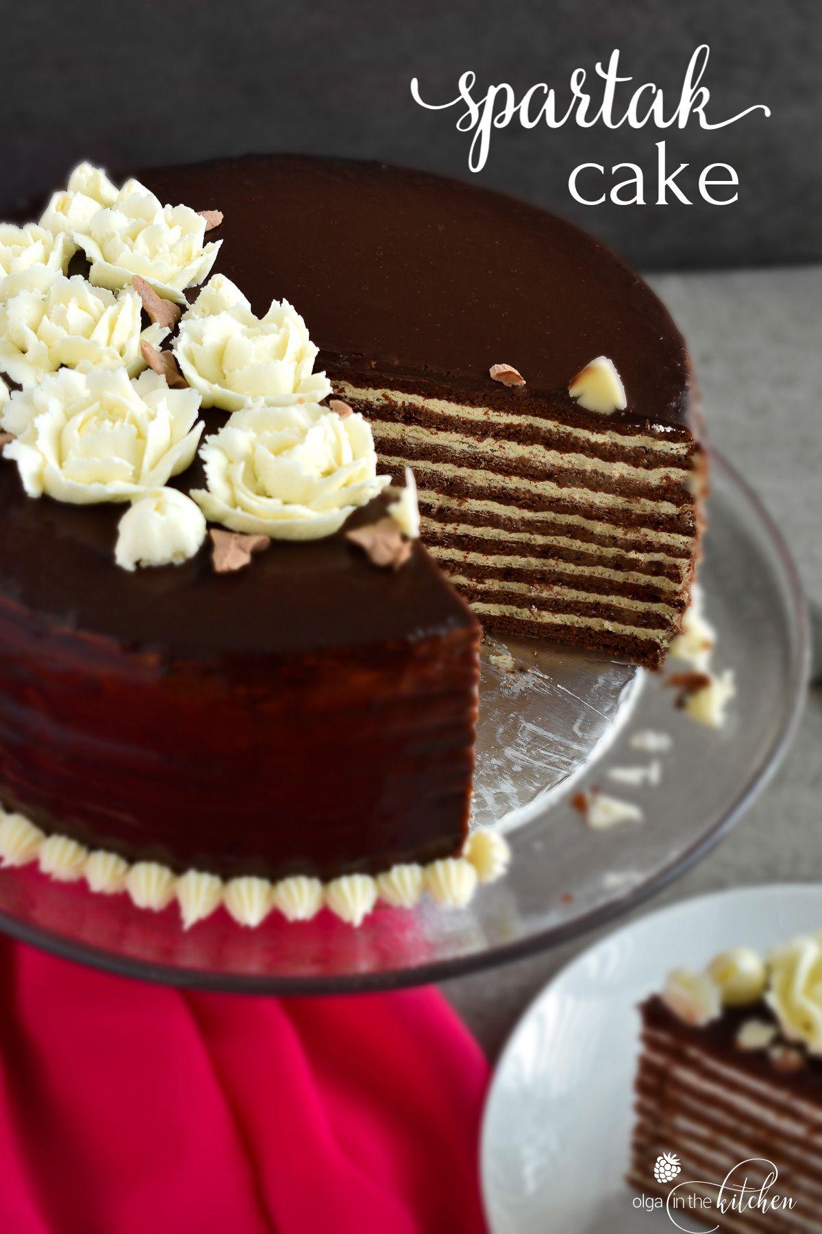 Chocolate Spartak Cake Olga In The Kitchen Recipe In 2020 Cake Sour Cream Frosting Cream Frosting