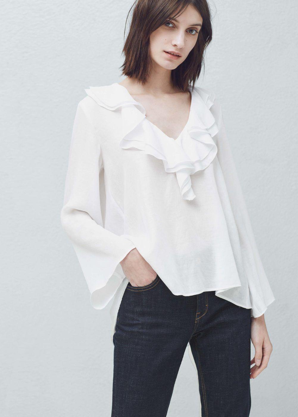 6ffb3bf82e64 Blouse col volants - Chemises pour Femme
